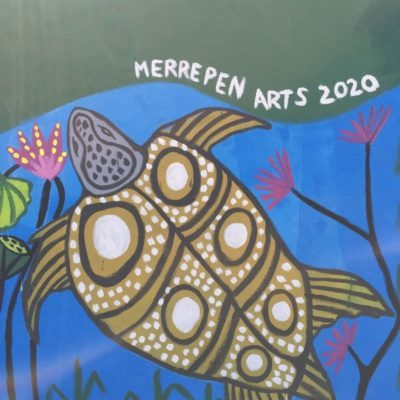 Detail of Merrepen Arts mural One River System Many Rivers at Godinymayin Yijard Rivers Arts and Culture Centre Katherine