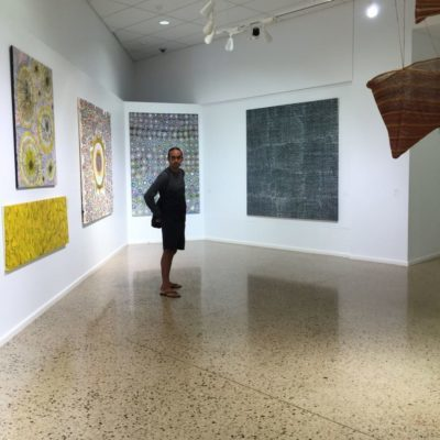 Merrepen Arts Aboriginal artist Kieren Karritpul at his exhibition Painting My Country Painting My Culture